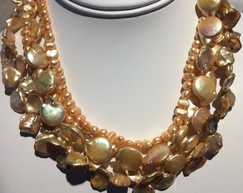 Gold Freshwater Coin Keshi Baroque Pearls Gold Filled Multistrand  Disc Pearl Multi Strand Unique Pearl Necklace