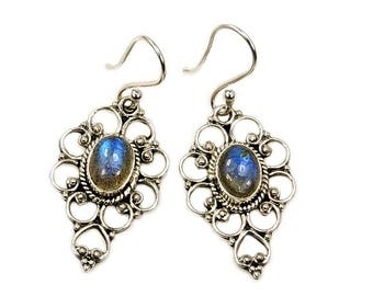Mystic Princess Labradorite Earrings & .925 Sterling Silver Dangle Earrings AF369 The Silver Plaza