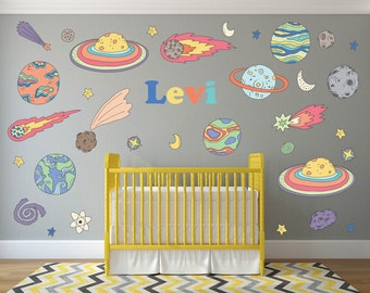 Outer Space Nursery Wall Decals, Personalized Name Wall Decals, Space Wall Decals, Outer Space Wall Art, Nursery Wall Art