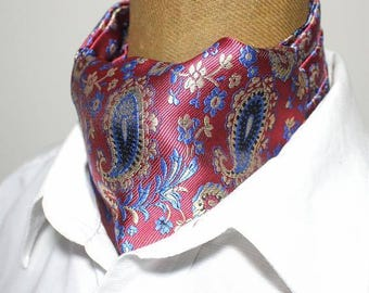Ascot,men ascot,Ascot tie, blue -yellow,Paisley