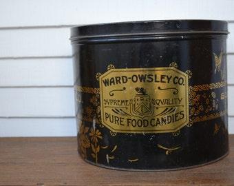Vintage Candy Tin * Ward-Owsley * Tindeco * South Dakota * Black & Gold * Large * Art Deco *
