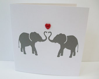 Elephant Valentine's Card - Valentine's Day Card - Paper Cut Elephants - Paper Handmade Greeting Card - Elephant Greeting card - Anniversary