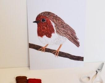 Robin Hand Embroidery Art  Unframed Print A5 Needlecraft Textile Art