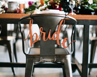 """Genuine Leather Calligraphy Wedding Chair Signs: mounted genuine leather """"bride"""" and """"groom"""" calligraphy pair"""