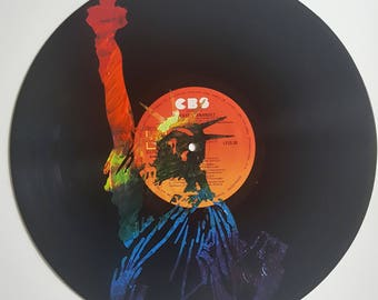 LP Acrylic Painted Rainbow Bust of NYC Statue of Liberty on CBS Label