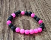 SALE!! Bright Pink and Black Bracelet-  Mantra Bracelet - Aromatherapy Bracelet - Buddhist Beads -Bead Bracelet- Boho Bracelet