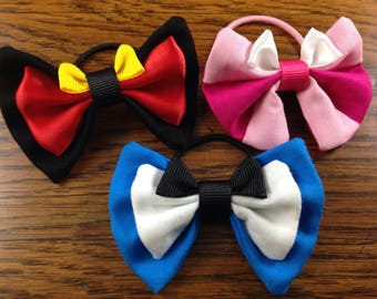 disney character bows alice in wonderland alice cheshire cat queen of hearts girl accessory small elastic ponytail holder