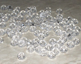 33 Faceted Clear Crystal Glass Rondells - 6x4MM