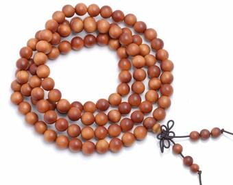 108PCS 6mm Fragrant Australia Barbie Sandalwood Grade A Prayer Buddha Mala Meditation Beads Round Loose Beads (90183362-781)
