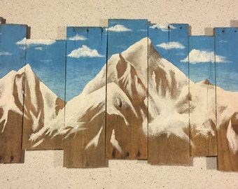 Mountain painting on pallet wood