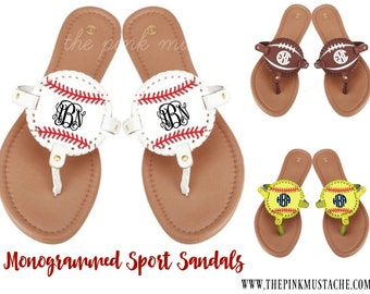 Monogrammed Sports Sandals - Baseball Monogram, Softball Monogram, Football Monogram, Soccer Monogrammed Flip Flops