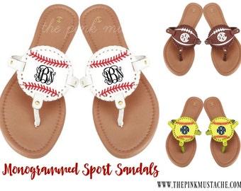Monogrammed Sports Sandals - Baseball Monogram, Softball Monogram, Football Monogram, Soccer Monogrammed Flip Flops