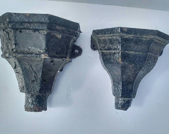 2 Antique INDUSTRIAL ARCHITECTURAL SALVAGE Cast Iron Downspouts -- Excellent to Repurpose