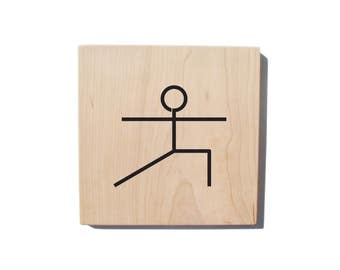 Wood Wall Art: Yoga Pose - Warrior II Pose