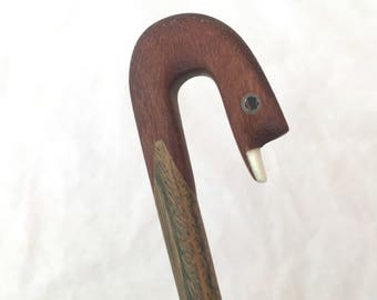 Vintage Duck Bird Hand Made Wooden Spoon, 2 Types of Wood Condiment Spoon, Wood Turned Spoon, Inset Accents Eyes Animal Teaspoon, Carved