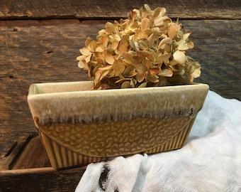 Vintage USA Planter, Gold Drip Glaze, USA Pottery
