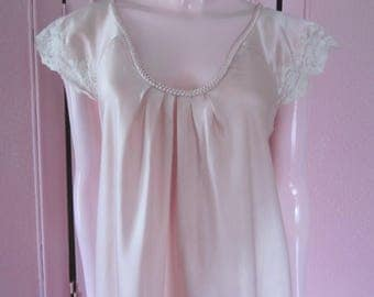 "1980s Pale Pink Satin Nightgown by ""Oscar de la Renta,"" Size S"