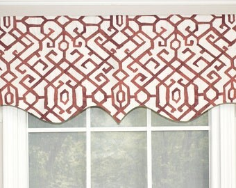 Bridges shaped valance in blue,red and grey