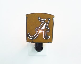 Alabama A night Light made out of rusted metal
