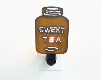 Sweet Tea night Light made out of rusted metal