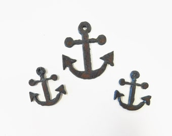Anchor Charm and earrings set made out of rusted rustic rusty recycled metal