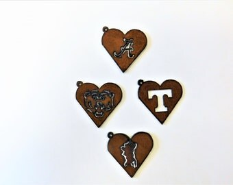 alabama A (2)  tennessee T colonial rebel  (2) inside of a heart pendant charm made out of rusted rusty rustic metal mix and match