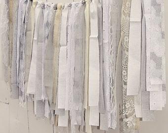 Rag Tie Banner, Burlap, Lace, Grey, White, Rag Tie Garland, Fabric Scrap Garland, Photo Prop, Wedding, Bridal Shower, Nursery, Custom