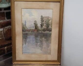 Vintage Original Watercolour of St James' Park London. F. Woodman