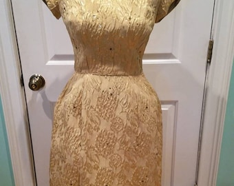 Vintage 50's - 60's Gold Brocade Dress