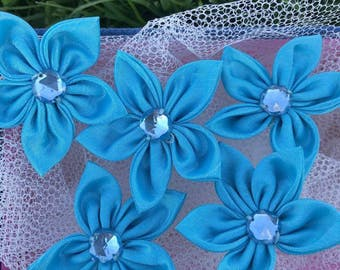 10 pcs Blue Satin Flower With Bead,45mm
