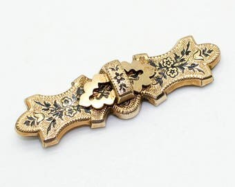 Gorgeous Victorian 12K Gold Filled Taille D'epargne PIN BROOCH-Enamel Antique Estate Jewelry