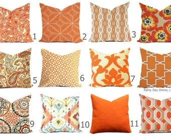 Pillow Covers Outdoor or Indoor Custom  - Orange Tangerine Sienna Spice Cayenne Ivory 16x16, 18x18 modern ikat geometric decor throw