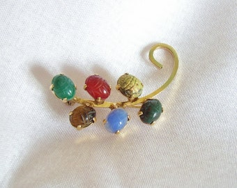 BAL-RON – Gold filled brooch prong set with gemstone scarab beetles