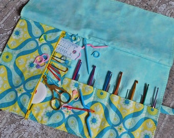 Crochet Case - Crochet Organizer - Hook Organizer - Crochet Hook Case - Makeup Brush Roll - Makeup Organizer - Makeup Storage Roll