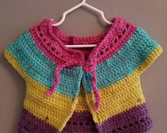 Crocheted Mini Bolero - Toddler - Paisley Pop - Ready to ship