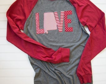 Women's Alabama raglan t-shirt, Love Alabama t-shirt, Baseball t-shirt, Gameday t-shirt, Alabama shirt, University of Alabama