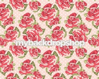 6ft x 6ft Pale Pink Floral Wallpaper Backdrop - Flower Backdrop for Photos - Pastel Pink and White Dot Flower Backdrop - Item 3164