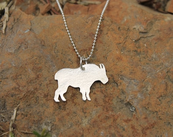 Handcut Sterling Silver Mountain Goat Pendant Necklace