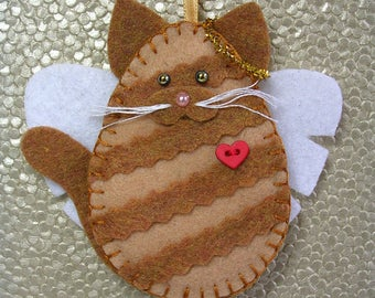 Cat Angel Ornament, Ginger Tabby Cat Angel Ornament, Orange Tabby Cat Angel Ornament, Cat Memorial