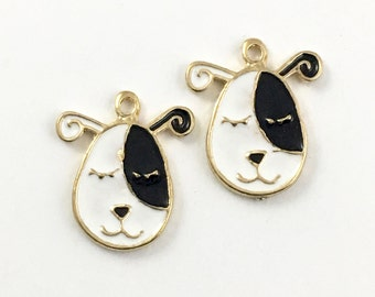 2 dog face charms  gold tone and enamel / 19mm  #CH 230-1