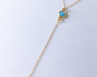 Blue Chalcedony Lariat Necklace