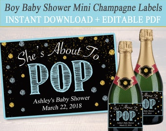 EDITABLE Boy Baby Shower Mini Champagne Labels, Printable Labels, INSTANT DOWNLOAD, She's About To Pop, Boy Baby Shower Decor, Ready to Pop