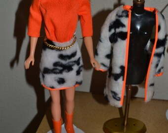 1969 Vintage Barbie Plush Pony fur outfit fashion complete- Mint for dolls 1960's