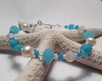 Freshwater Pearl and Light Blue Bracelet