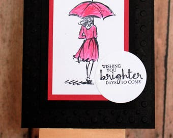 Handmade Card/Stamped/Blank Inside/Lady/Thinking of You