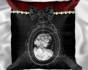 Black Angel Cameo Goth Throw Pillow