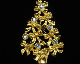 Christmas Tree Pin Vintage Avon Bows & Rhinestone Brooch