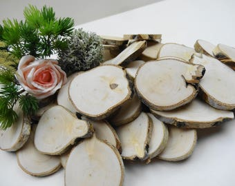 "2""-3"" Tree Slices, Tags,Birch Wood Slices, Woodworking, DIY, Tags,Irregular Shape Tree Slices, Wood Slices, Wood Blanks, Craft,E54,Set of 20"