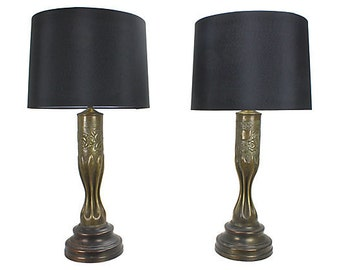 WWI Brass Trench Art Lamps, Pair - 1918