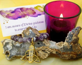 Intuition & Divine Connection Manifesting Kit - Candle, Bracelet, Affirmation Cards, Spell